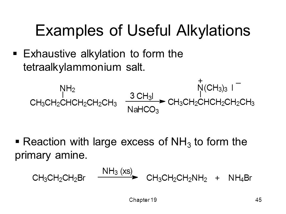 Chapter 1945 Examples of Useful Alkylations  Exhaustive alkylation to form the tetraalkylammonium salt.  Reaction with large excess of NH 3 to form