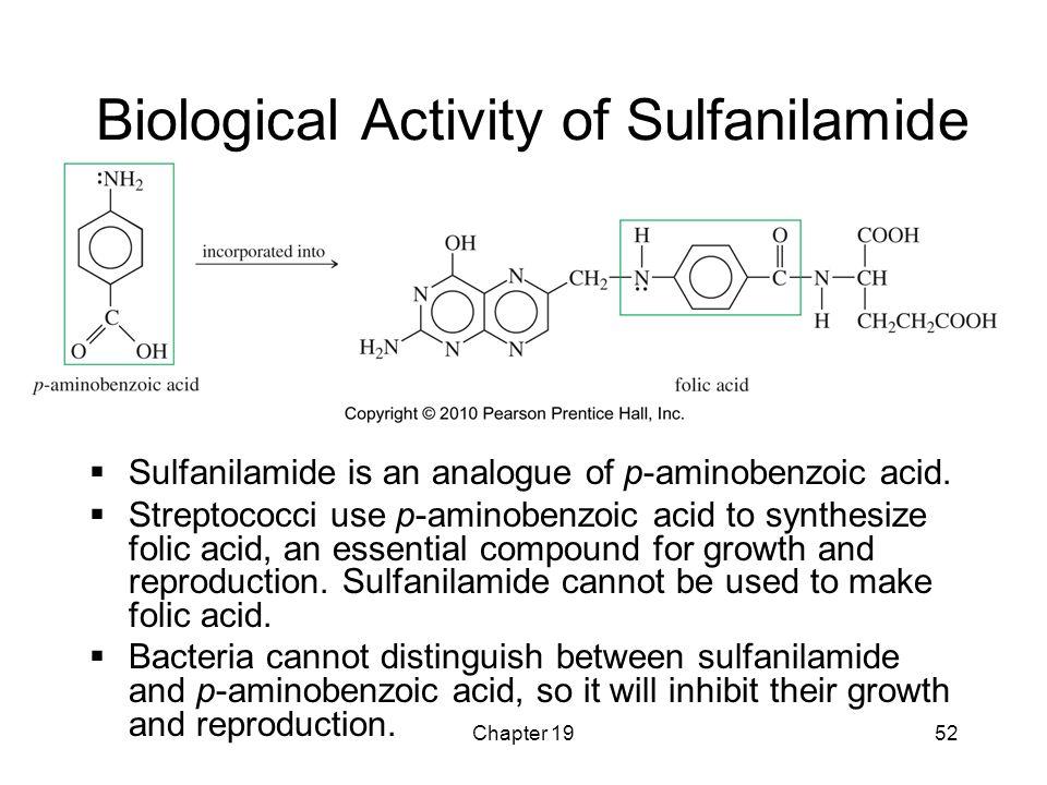 Chapter 1952 Biological Activity of Sulfanilamide  Sulfanilamide is an analogue of p-aminobenzoic acid.  Streptococci use p-aminobenzoic acid to syn