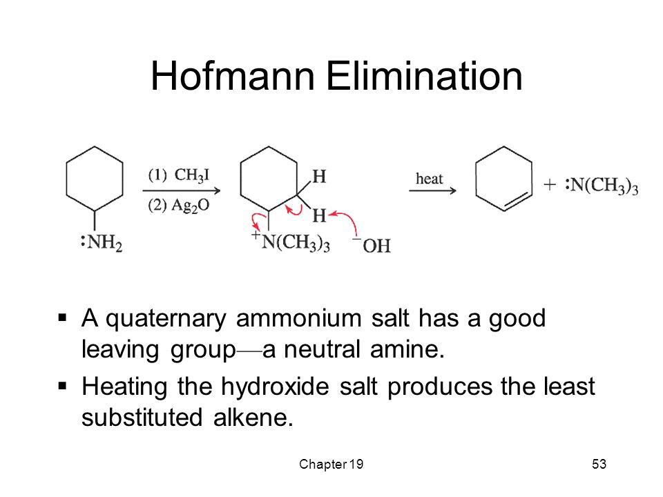 Chapter 1953 Hofmann Elimination  A quaternary ammonium salt has a good leaving group — a neutral amine.  Heating the hydroxide salt produces the le