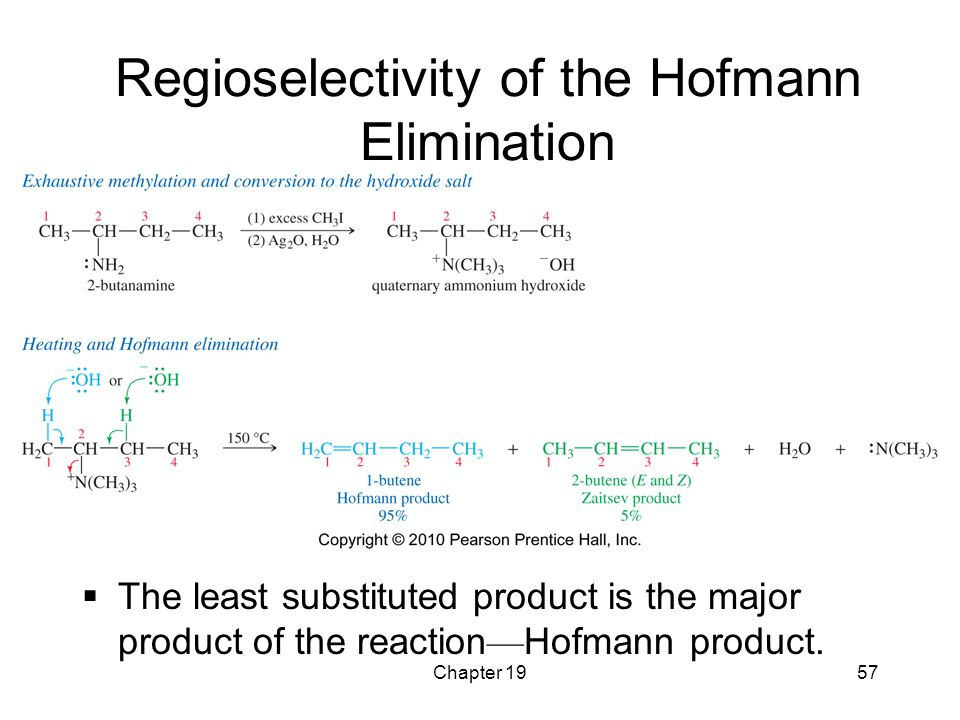 Chapter 1957 Regioselectivity of the Hofmann Elimination  The least substituted product is the major product of the reaction — Hofmann product.