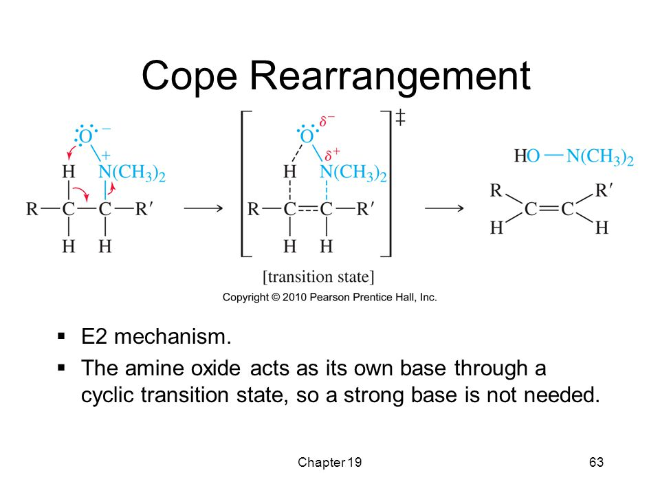 Chapter 1963 Cope Rearrangement  E2 mechanism.  The amine oxide acts as its own base through a cyclic transition state, so a strong base is not need