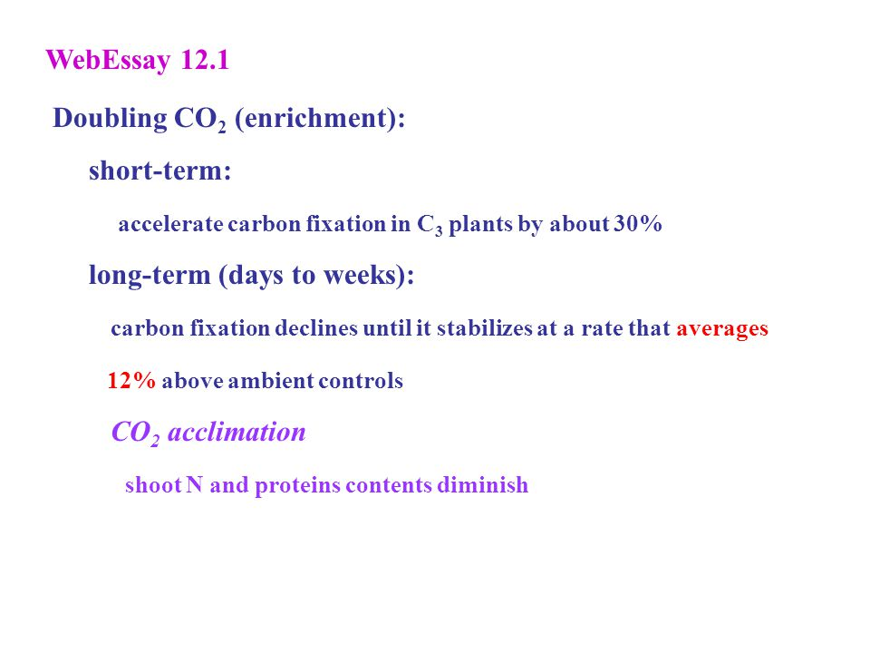Doubling CO 2 (enrichment): short-term: accelerate carbon fixation in C 3 plants by about 30% long-term (days to weeks): carbon fixation declines until it stabilizes at a rate that averages 12% above ambient controls CO 2 acclimation shoot N and proteins contents diminish WebEssay 12.1