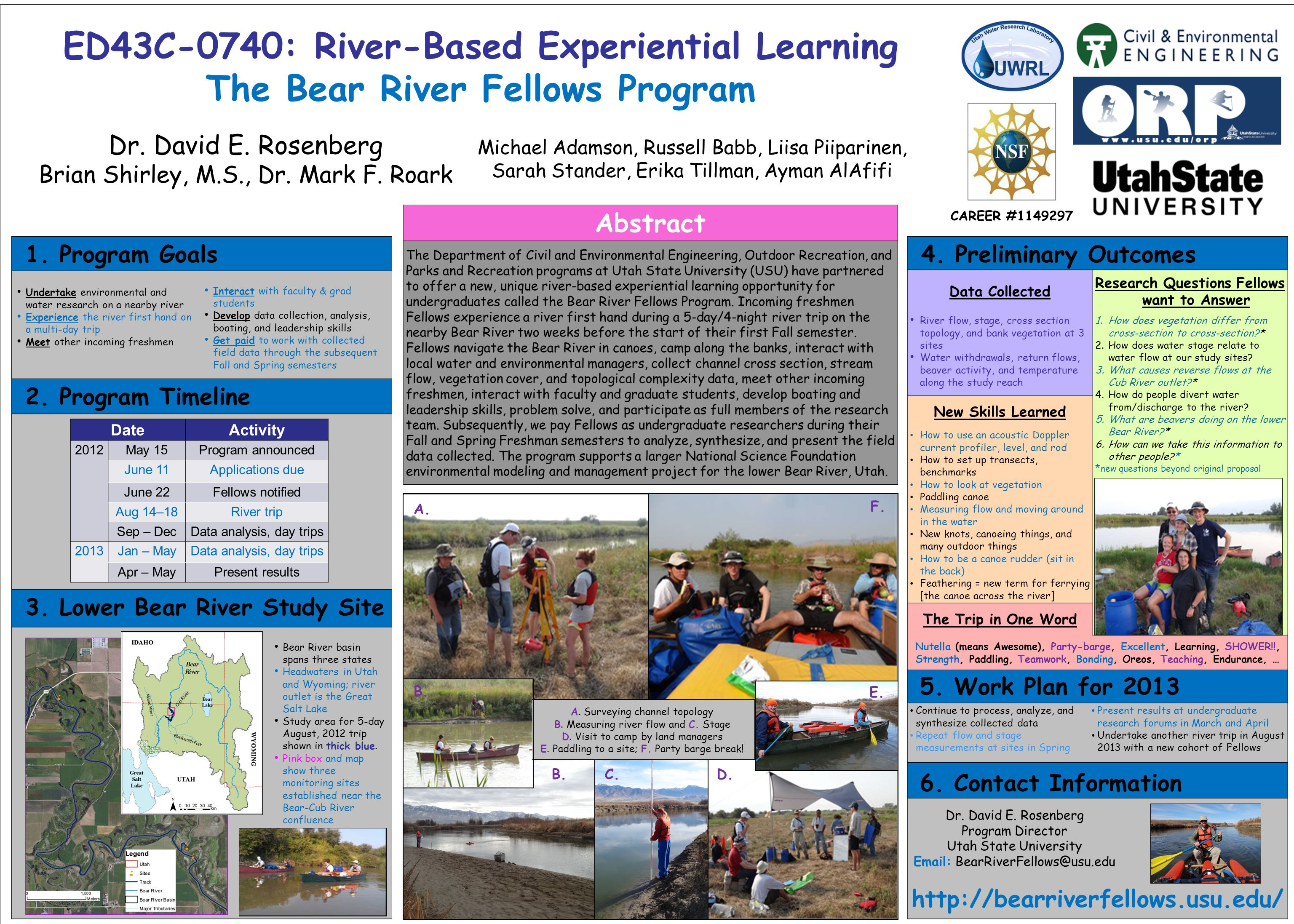 ED43C-0740: River-Based Experiential Learning The Bear River Fellows Program Dr.