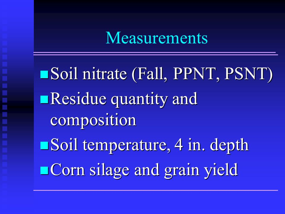 Measurements Soil nitrate (Fall, PPNT, PSNT) Soil nitrate (Fall, PPNT, PSNT) Residue quantity and composition Residue quantity and composition Soil temperature, 4 in.