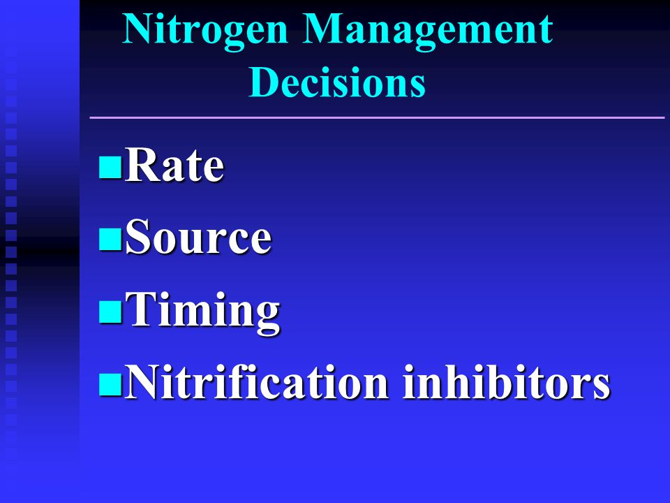 Nitrogen Management Decisions Rate Rate Source Source Timing Timing Nitrification inhibitors Nitrification inhibitors