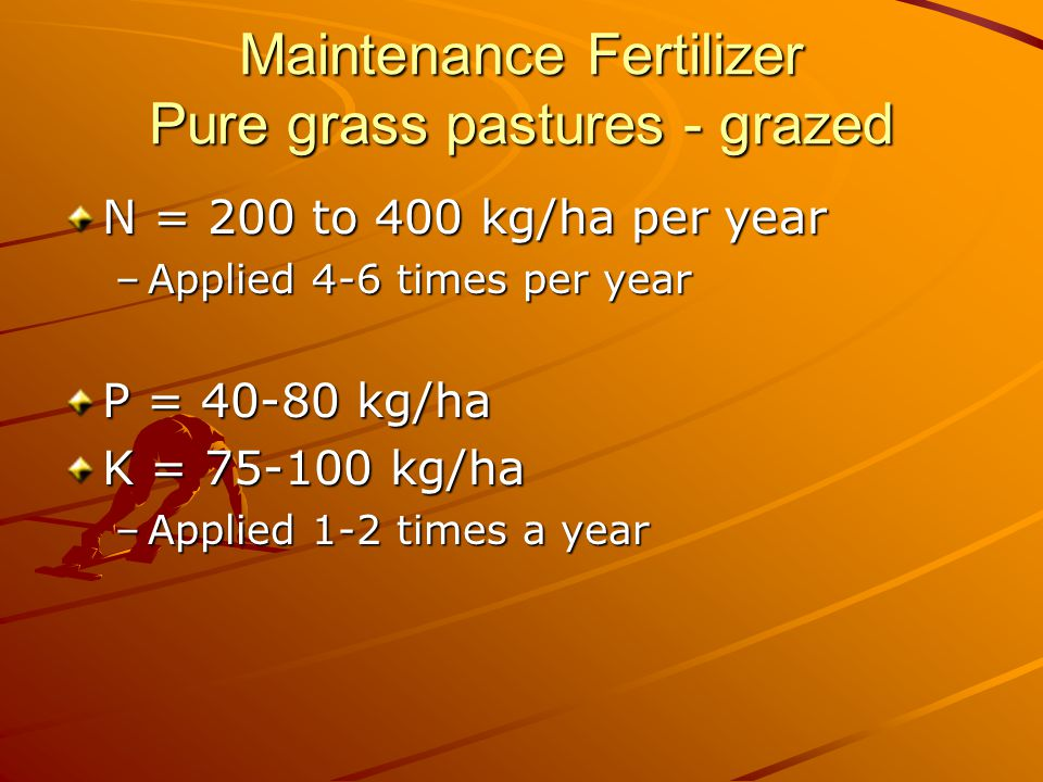 Maintenance Fertilizer Pure grass pastures - grazed N = 200 to 400 kg/ha per year –Applied 4-6 times per year P = 40-80 kg/ha K = 75-100 kg/ha –Applied 1-2 times a year