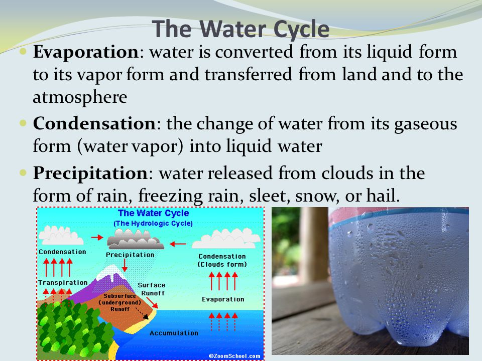 The Water Cycle Evaporation: water is converted from its liquid form to its vapor form and transferred from land and to the atmosphere Condensation: the change of water from its gaseous form (water vapor) into liquid water Precipitation: water released from clouds in the form of rain, freezing rain, sleet, snow, or hail.
