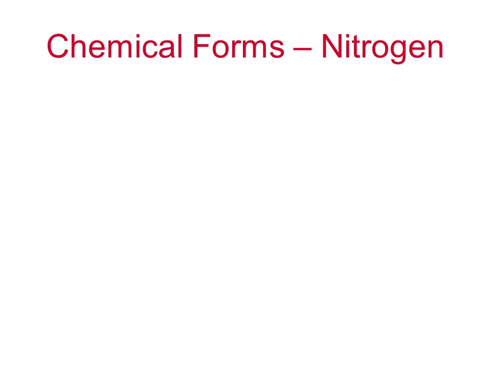Chemical Forms – Nitrogen