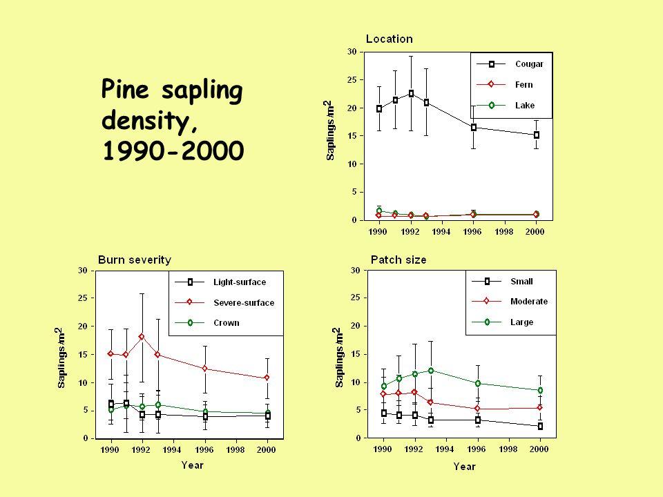 Pine sapling density, 1990-2000
