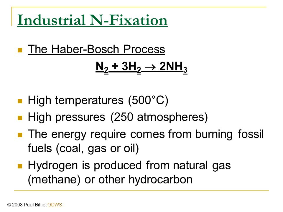 Industrial N-Fixation The Haber-Bosch Process N 2 + 3H 2  2NH 3 High temperatures (500°C) High pressures (250 atmospheres) The energy require comes f