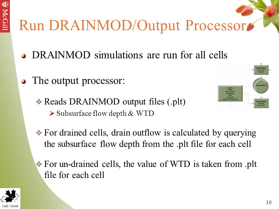 10 Run DRAINMOD/Output Processor DRAINMOD simulations are run for all cells The output processor: Reads DRAINMOD output files (.plt) Subsurface flow d