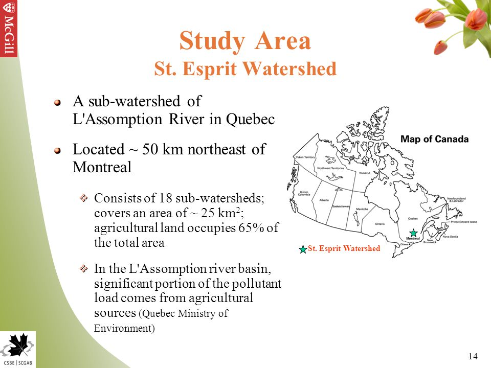 14 Study Area St. Esprit Watershed A sub-watershed of L'Assomption River in Quebec Located ~ 50 km northeast of Montreal Consists of 18 sub-watersheds