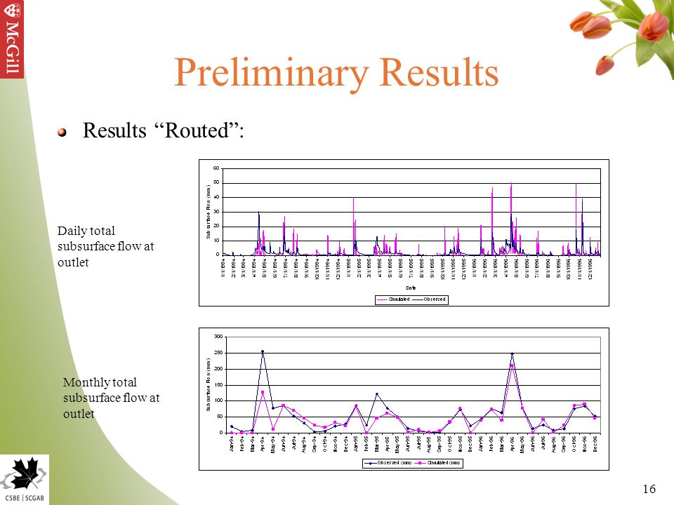 "16 Preliminary Results Results ""Routed"": Daily total subsurface flow at outlet Monthly total subsurface flow at outlet"
