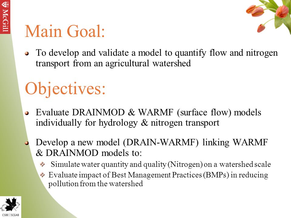 Main Goal: To develop and validate a model to quantify flow and nitrogen transport from an agricultural watershed Objectives: Evaluate DRAINMOD & WARMF (surface flow) models individually for hydrology & nitrogen transport Develop a new model (DRAIN-WARMF) linking WARMF & DRAINMOD models to: Simulate water quantity and quality (Nitrogen) on a watershed scale Evaluate impact of Best Management Practices (BMPs) in reducing pollution from the watershed