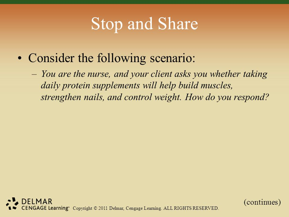 Copyright © 2011 Delmar, Cengage Learning. ALL RIGHTS RESERVED. Stop and Share Consider the following scenario: –You are the nurse, and your client as
