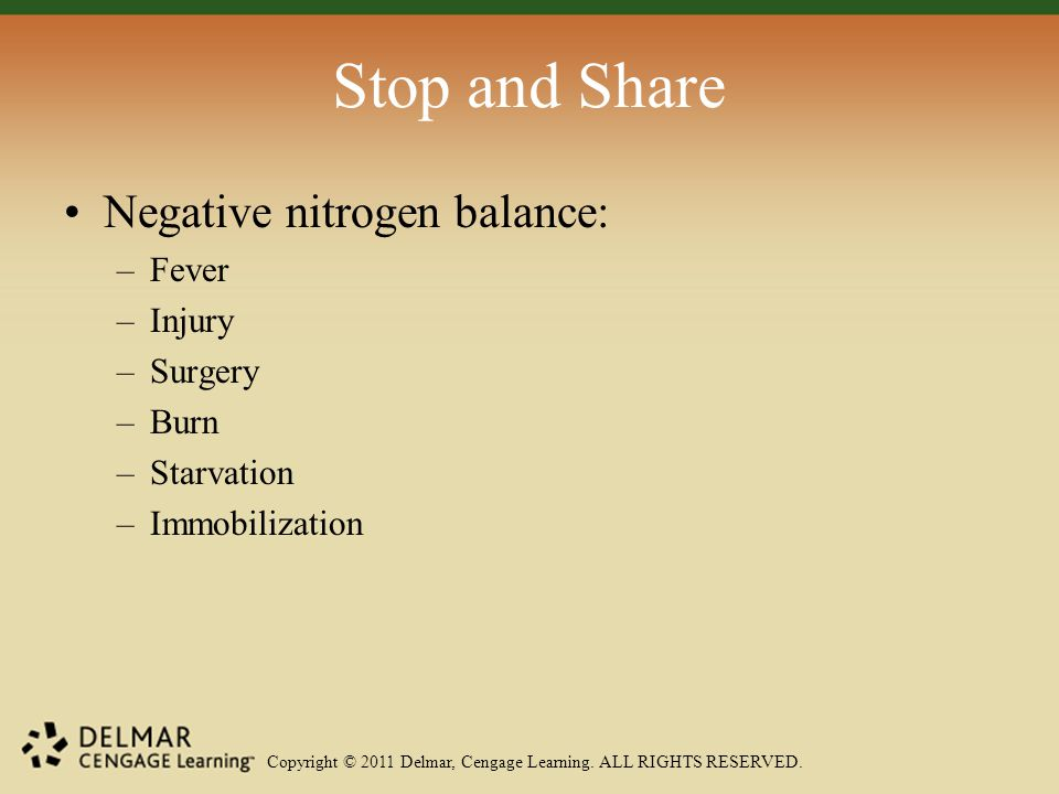 Copyright © 2011 Delmar, Cengage Learning. ALL RIGHTS RESERVED. Stop and Share Negative nitrogen balance: –Fever –Injury –Surgery –Burn –Starvation –I