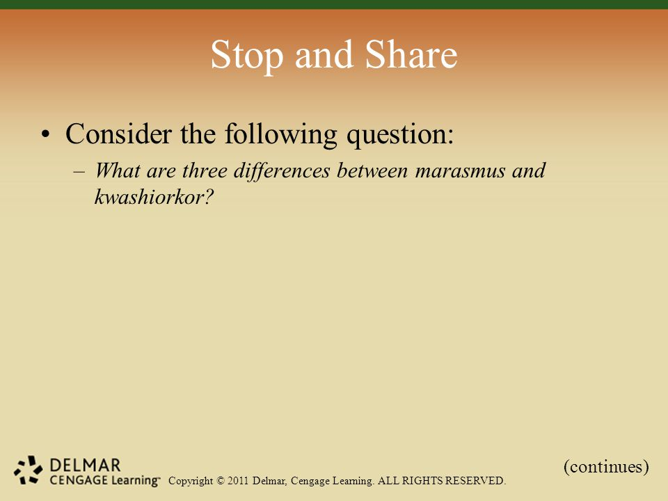 Copyright © 2011 Delmar, Cengage Learning. ALL RIGHTS RESERVED. Stop and Share Consider the following question: –What are three differences between ma