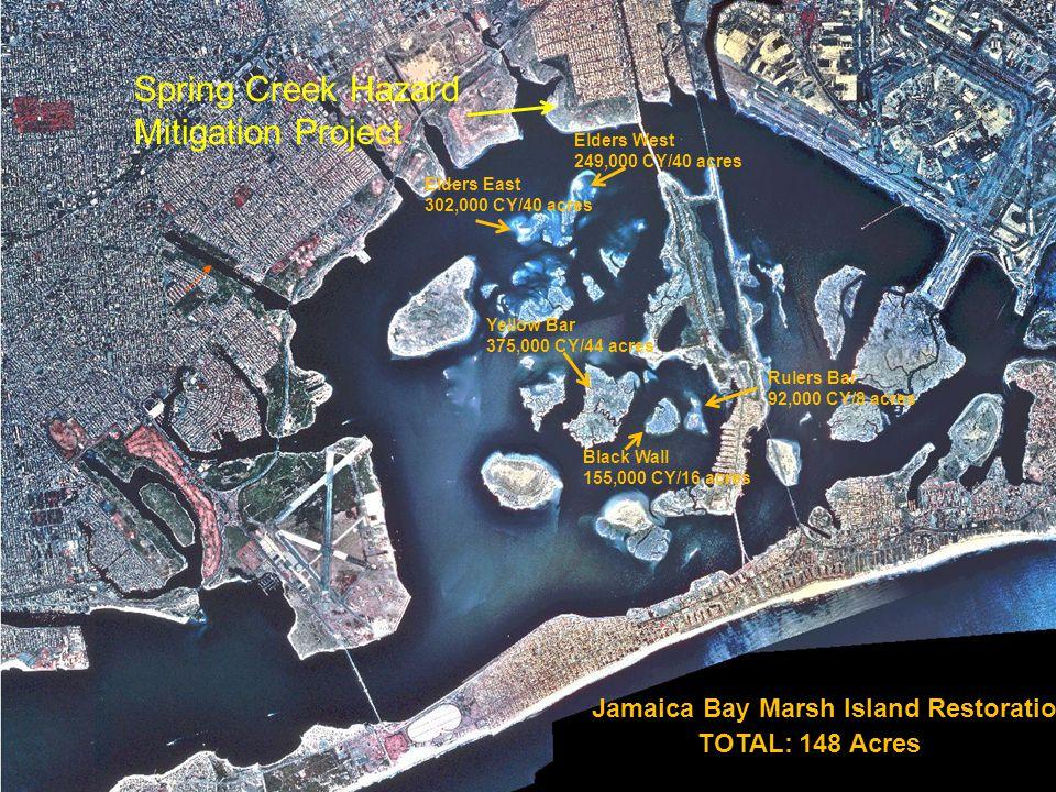 Elders East 302,000 CY/40 acres Jamaica Bay Marsh Island Restoration Elders West 249,000 CY/40 acres Yellow Bar 375,000 CY/44 acres Black Wall 155,000 CY/16 acres Rulers Bar 92,000 CY/8 acres TOTAL: 148 Acres Spring Creek Hazard Mitigation Project