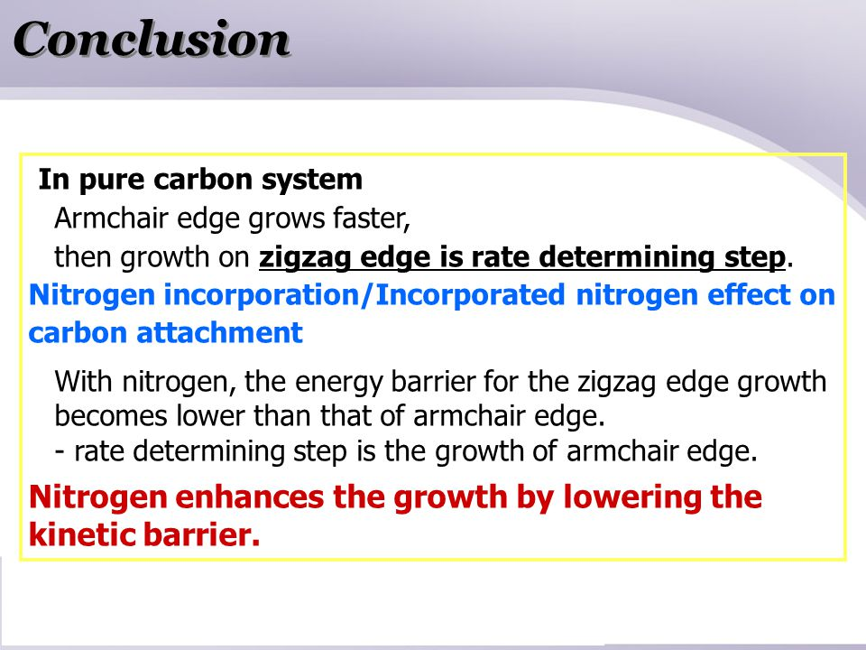 Conclusion In pure carbon system Armchair edge grows faster, then growth on zigzag edge is rate determining step.