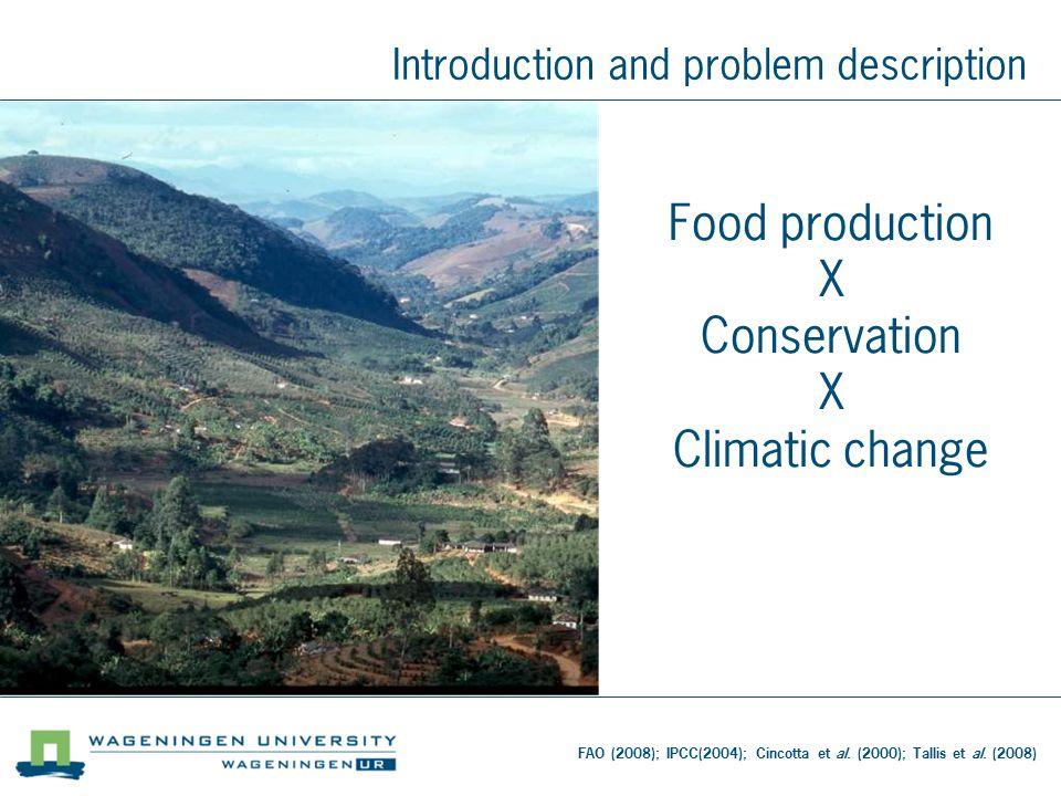 Food production X Conservation X Climatic change Introduction and problem description FAO (2008); IPCC(2004); Cincotta et al.