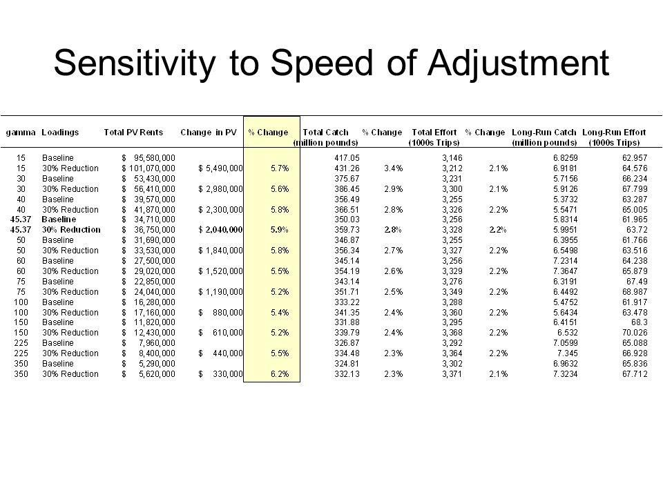 Sensitivity to Speed of Adjustment