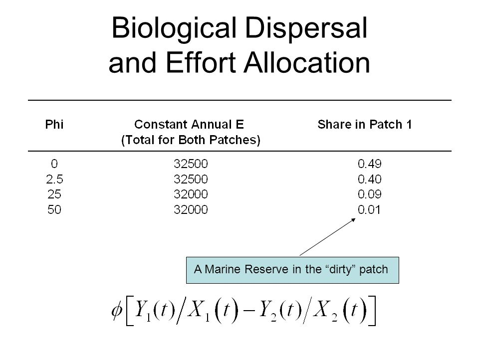 Biological Dispersal and Effort Allocation A Marine Reserve in the dirty patch