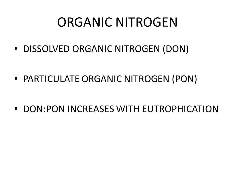 ORGANIC NITROGEN DISSOLVED ORGANIC NITROGEN (DON) PARTICULATE ORGANIC NITROGEN (PON) DON:PON INCREASES WITH EUTROPHICATION