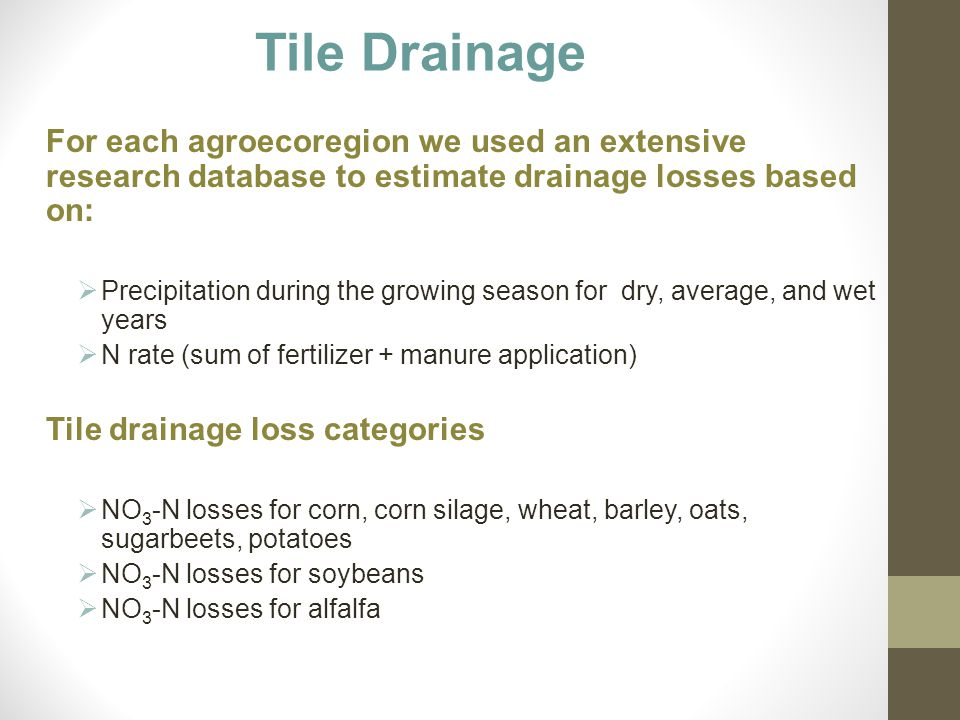 Tile Drainage For each agroecoregion we used an extensive research database to estimate drainage losses based on:  Precipitation during the growing s