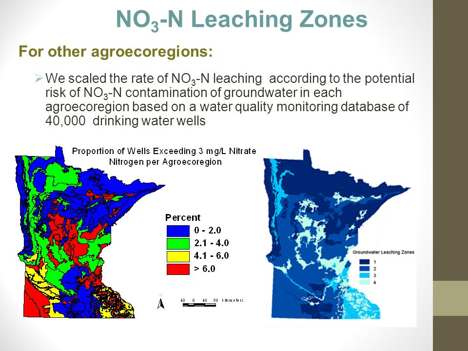 NO 3 -N Leaching Zones For other agroecoregions:  We scaled the rate of NO 3 -N leaching according to the potential risk of NO 3 -N contamination of