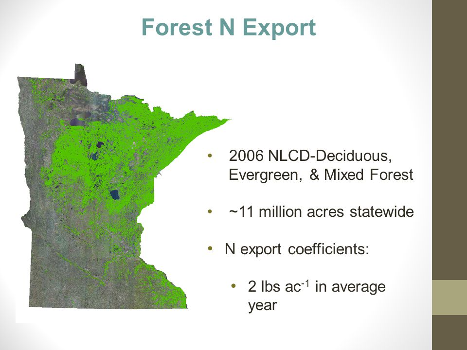 Forest N Export 2006 NLCD-Deciduous, Evergreen, & Mixed Forest ~11 million acres statewide N export coefficients: 2 lbs ac -1 in average year