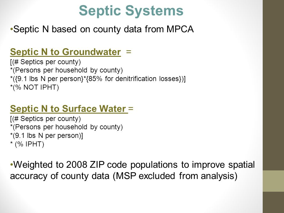 Septic N based on county data from MPCA Septic N to Groundwater = [(# Septics per county) *(Persons per household by county) *({9.1 lbs N per person}*{85% for denitrification losses})] *(% NOT IPHT) Septic N to Surface Water = [(# Septics per county) *(Persons per household by county) *(9.1 lbs N per person)] * (% IPHT) Weighted to 2008 ZIP code populations to improve spatial accuracy of county data (MSP excluded from analysis) Septic Systems