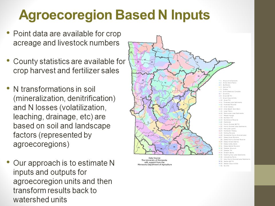 Agroecoregion Based N Inputs Point data are available for crop acreage and livestock numbers County statistics are available for crop harvest and fertilizer sales N transformations in soil (mineralization, denitrification) and N losses (volatilization, leaching, drainage, etc) are based on soil and landscape factors (represented by agroecoregions) Our approach is to estimate N inputs and outputs for agroecoregion units and then transform results back to watershed units