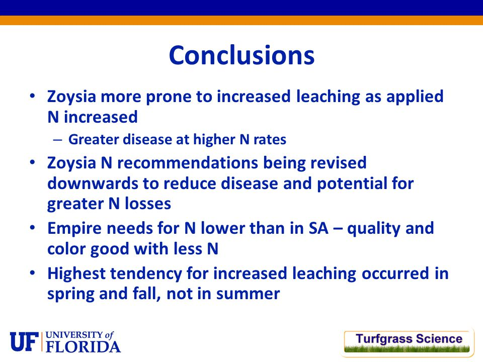 Conclusions Zoysia more prone to increased leaching as applied N increased – Greater disease at higher N rates Zoysia N recommendations being revised downwards to reduce disease and potential for greater N losses Empire needs for N lower than in SA – quality and color good with less N Highest tendency for increased leaching occurred in spring and fall, not in summer