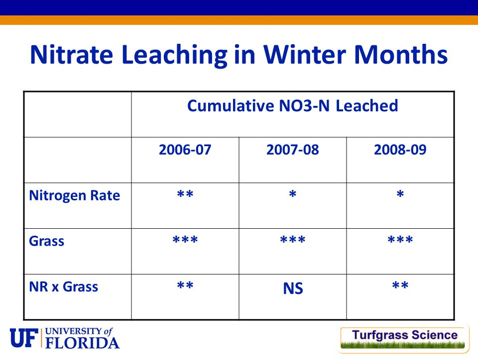 Nitrate Leaching in Winter Months Cumulative NO3-N Leached 2006-072007-082008-09 Nitrogen Rate **** Grass *** NR x Grass **NS**