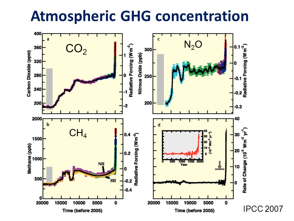 Atmospheric GHG concentration CO 2 N2ON2O CH 4 IPCC 2007