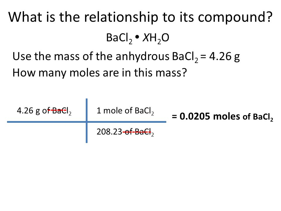 What is the relationship to its compound? BaCl 2  XH 2 O Use the mass of the anhydrous BaCl 2 = 4.26 g 4.26 g of BaCl 2 ------ 1 mole of BaCl 2 208.2