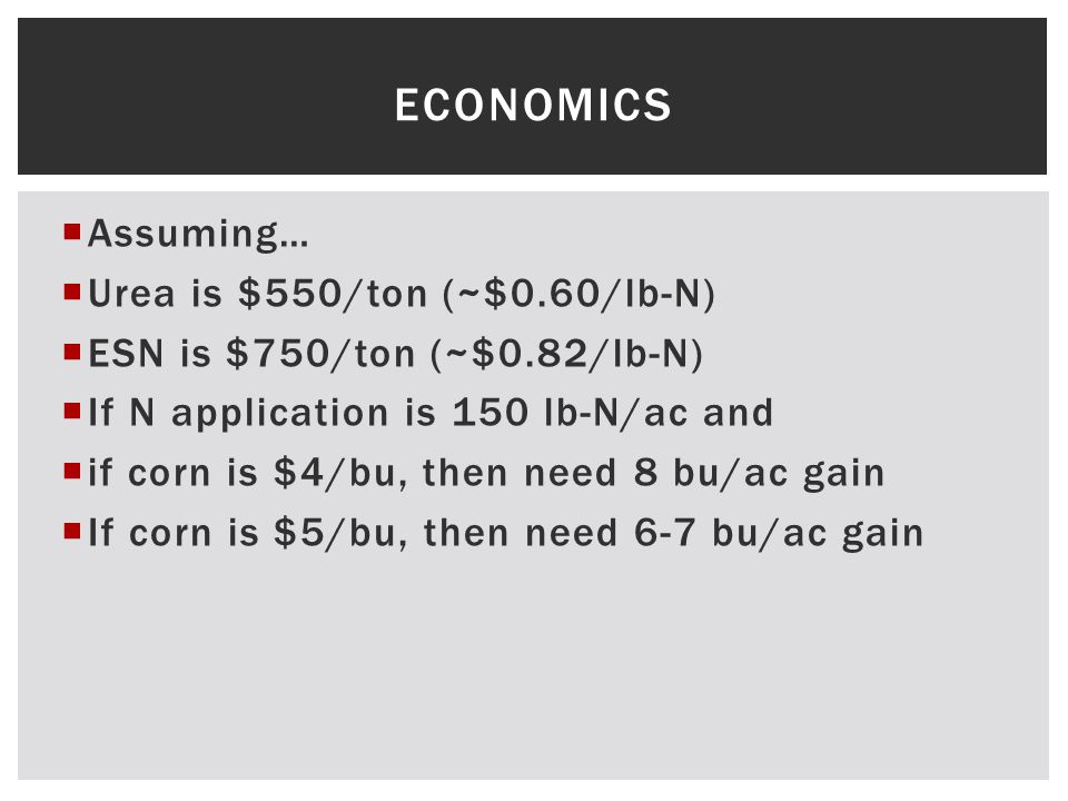  Assuming…  Urea is $550/ton (~$0.60/lb-N)  ESN is $750/ton (~$0.82/lb-N)  If N application is 150 lb-N/ac and  if corn is $4/bu, then need 8 bu/