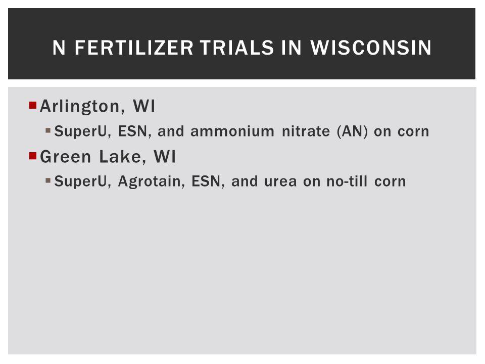  Arlington, WI  SuperU, ESN, and ammonium nitrate (AN) on corn  Green Lake, WI  SuperU, Agrotain, ESN, and urea on no-till corn N FERTILIZER TRIALS IN WISCONSIN