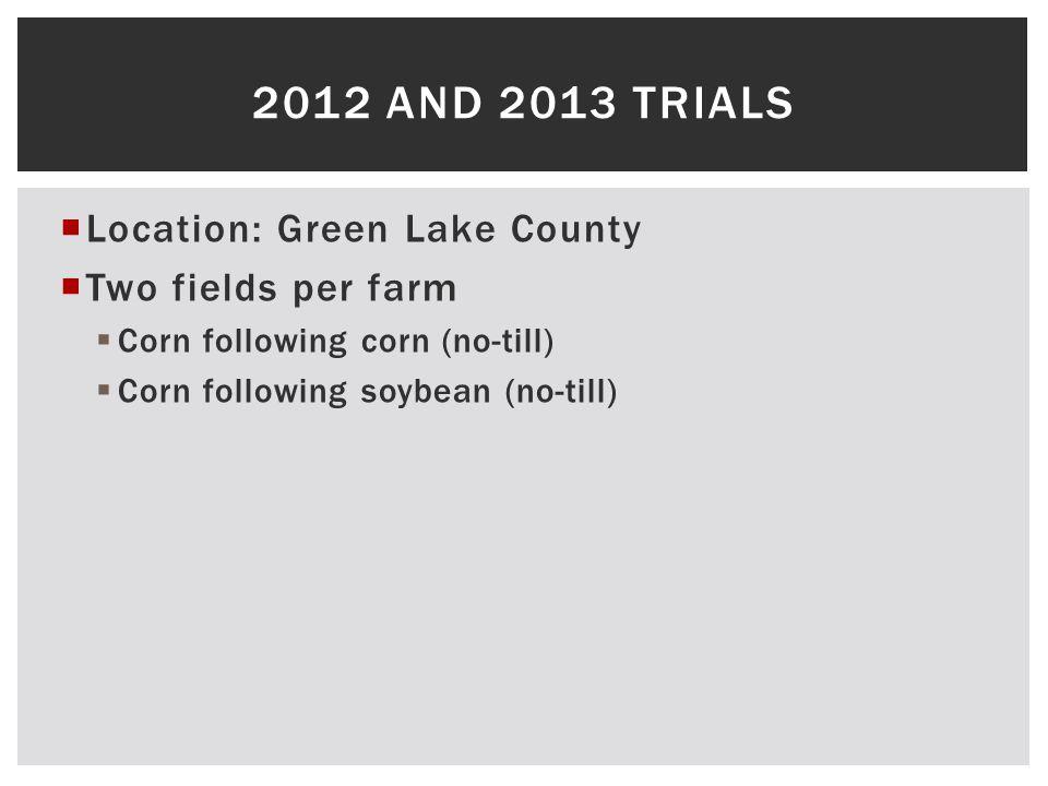  Location: Green Lake County  Two fields per farm  Corn following corn (no-till)  Corn following soybean (no-till) 2012 AND 2013 TRIALS