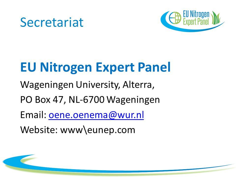 Secretariat EU Nitrogen Expert Panel Wageningen University, Alterra, PO Box 47, NL-6700 Wageningen Email: oene.oenema@wur.nloene.oenema@wur.nl Website
