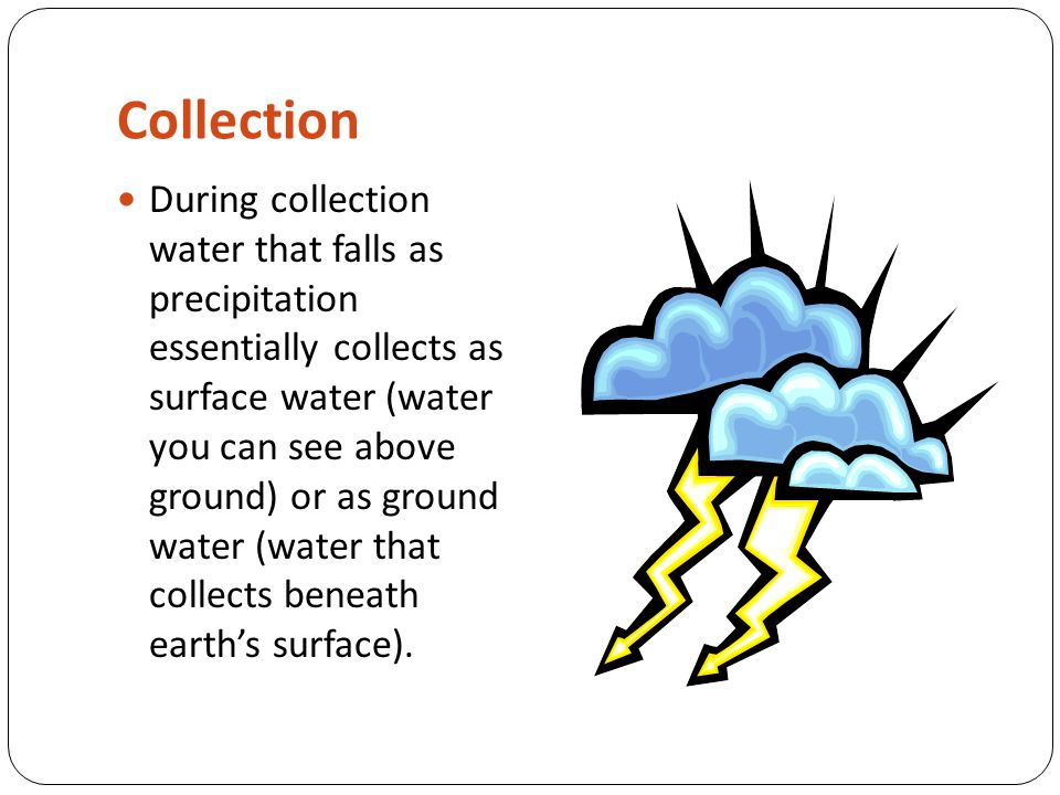 Collection During collection water that falls as precipitation essentially collects as surface water (water you can see above ground) or as ground wat