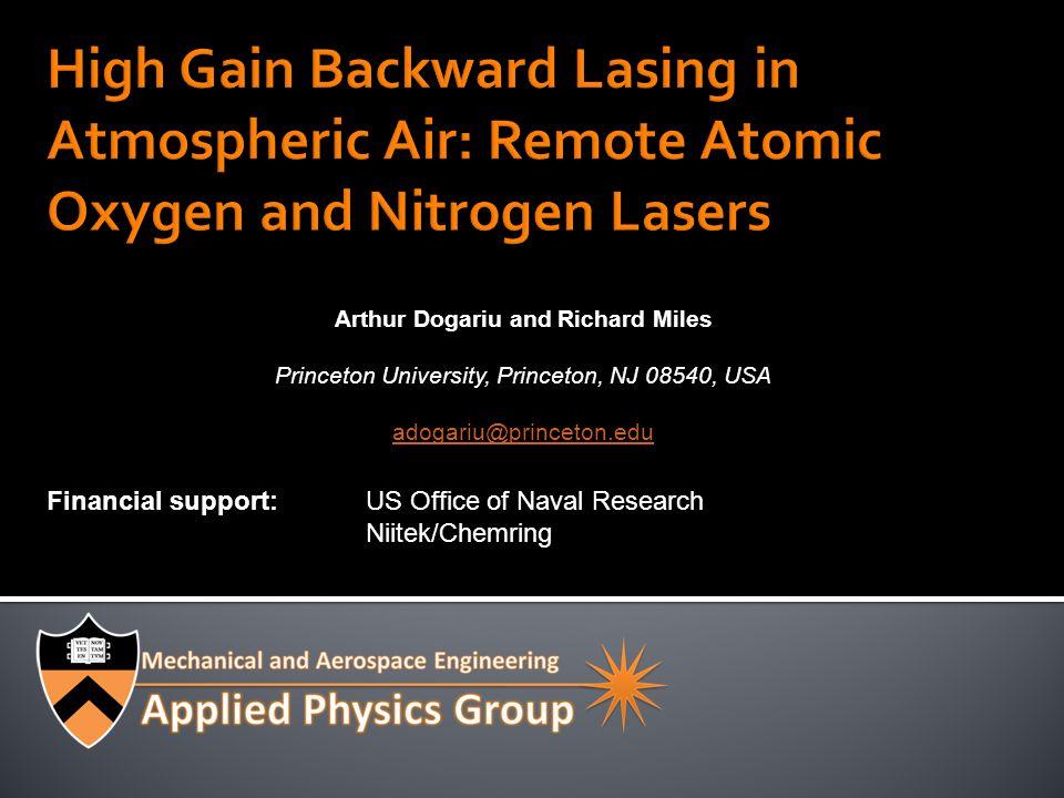 22 Laser pulse ~ 20ps Pulse-width < 30ps Spectral measurement: pulse >10ps Atomic oxygen lifetime: 34ns.