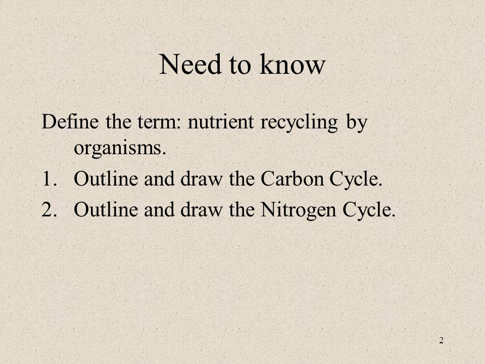 2 Need to know Define the term: nutrient recycling by organisms.