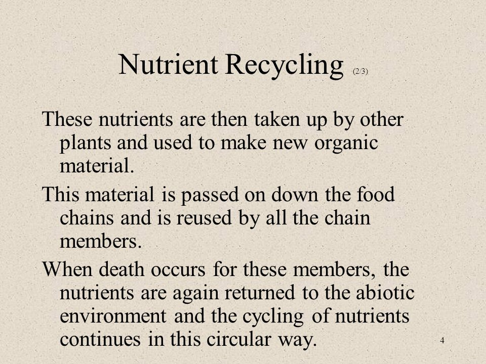 4 Nutrient Recycling (2/3) These nutrients are then taken up by other plants and used to make new organic material.