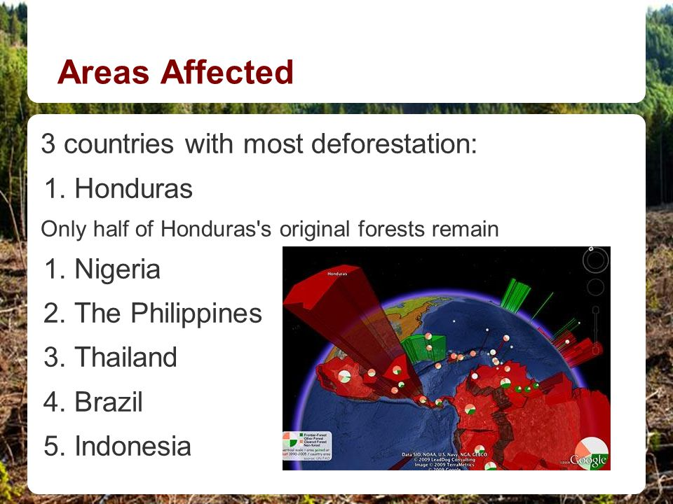 Areas Affected 3 countries with most deforestation: 1.Honduras Only half of Honduras's original forests remain 1.Nigeria 2.The Philippines 3.Thailand