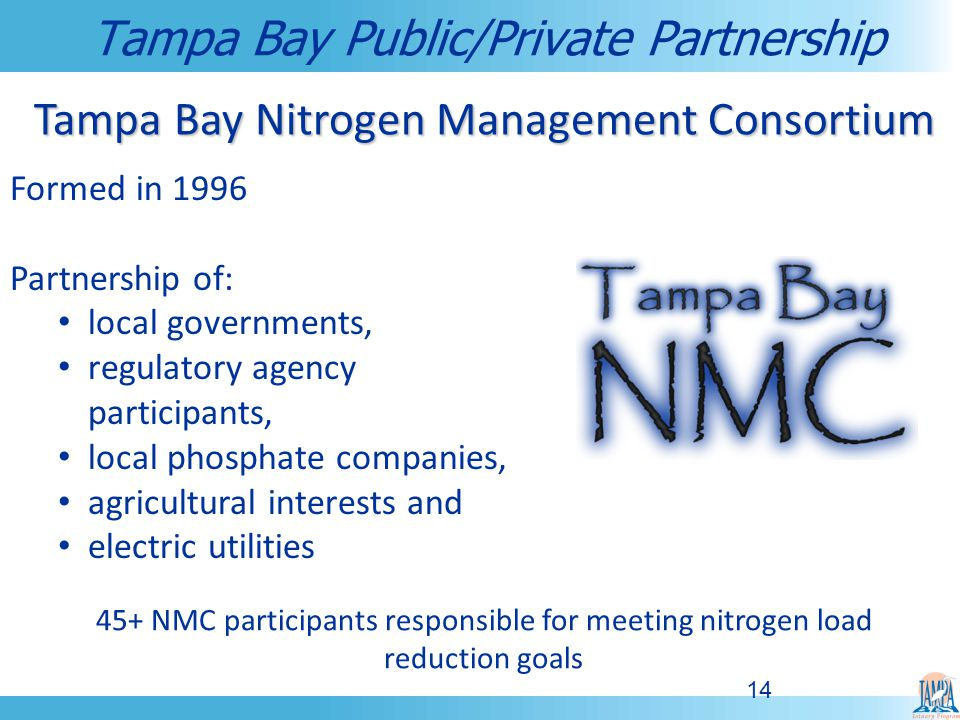 14 Formed in 1996 Partnership of: local governments, regulatory agency participants, local phosphate companies, agricultural interests and electric utilities Tampa Bay Public/Private Partnership Tampa Bay Nitrogen Management Consortium 45+ NMC participants responsible for meeting nitrogen load reduction goals