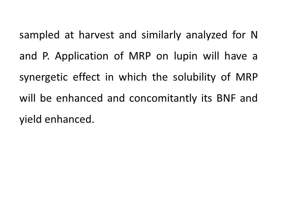 Key words: Biological Nitrogen fixation; Minjingu rock phosphate; Lupin; Reference crop