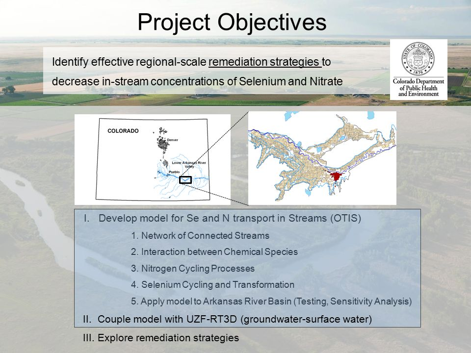 Project Objectives Identify effective regional-scale remediation strategies to decrease in-stream concentrations of Selenium and Nitrate I. Develop mo
