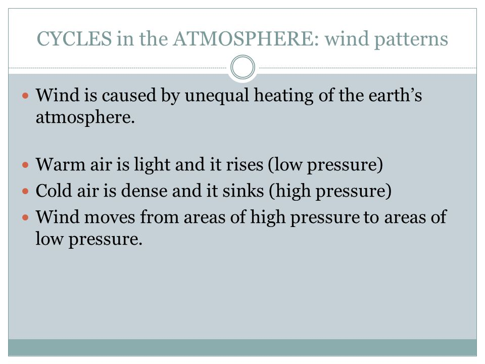CYCLES in the ATMOSPHERE: wind patterns Wind is caused by unequal heating of the earth's atmosphere.