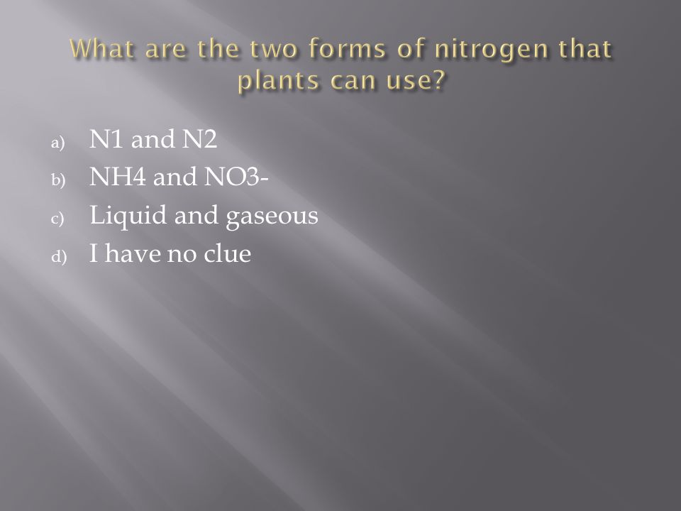 a) N1 and N2 b) NH4 and NO3- c) Liquid and gaseous d) I have no clue